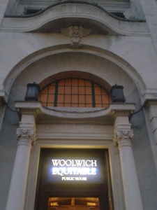 Shiny beacon of loveliness. Woolwich Equitable's signage is suitably retro.